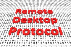 Remote desktop protocol. In the form of binary code, 3D illustration Stock Photo