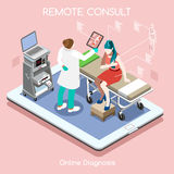 Remote Doctor 02 People Isometric Royalty Free Stock Photos