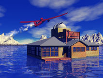 Remote dream home and aircraft Stock Photos