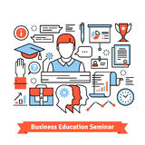 Remote education business seminar background. Thin line art flat illustration with icons Royalty Free Stock Photo