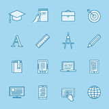 Remote education icons Stock Image