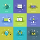 Remote education theme in flat line Royalty Free Stock Image
