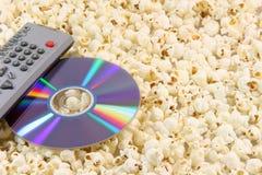 remote för diskettdvdpopcorn Arkivbilder