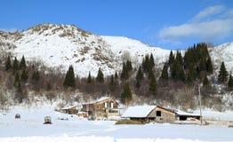 Remote farm in mountains Royalty Free Stock Photos