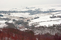Remote farmland on the snow covered moors Royalty Free Stock Photo