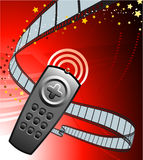 Remote on Film Reel Background Stock Image