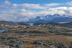 Remote Fishing Village in the Arctic stock photography