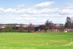 Remote football field in Falkland, a village in Fife, Scotland, UK.  royalty free stock photography