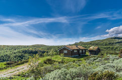 Remote grass roof cottage in Norway. Under a clear blue sky Stock Images