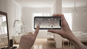 Remote home control system on a digital smart phone tablet. Device with app icons. Interior of scandinavian bedroom with bathroom,. Architecture design royalty free illustration