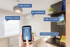 Remote home control system on a smart phone. Royalty Free Stock Images