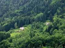 Remote Houses Mountain Italy Stock Image