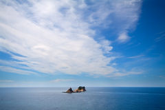 Remote island in the ocean. Lonely remote island in the ocean, montenegro Stock Image