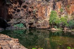 A remote lily pond lagoon at Katherine Gorge in Northern Territory, Australia Stock Image