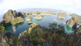 Remote Limestone Islands in Raja Ampat stock video