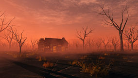 Remote lonely wooden cabin in misty landscape with dead trees. Sunset Stock Image