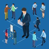Remote management of business and people isometric vector concept royalty free illustration