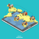 Remote managing isometric flat vector concept. Isometric model of earth continents are hovering over the tablet with manager and group of employees on it Royalty Free Stock Photography