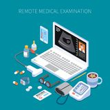 Remote Medical Examination Isometric Composition. With human organ ultrasound on laptop screen and medicine devices vector illustration stock illustration