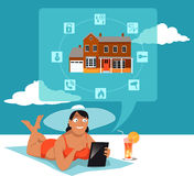Remote monitoring of the home security system. Woman in a swimsuit and a hat relaxing on a beach and monitoring her home security system on a tablet computer Stock Photography