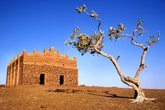Remote mosque. With lonely tree in african desert Stock Photo