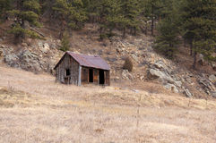Remote mountain miners cabin Stock Image