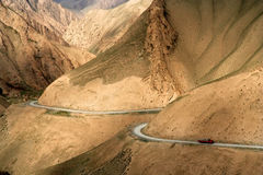 Remote Mountain Road. In Xinjang province in China royalty free stock photo