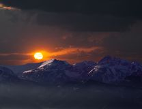 Remote mountains in sunset Stock Photography