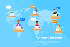 Remote Online Education Concept Students Using. Laptop Flat Vector Illustration Royalty Free Stock Images
