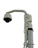 Remote Outdoor TV Camera. Outdoor remote CCTV camera in dome on metal pole, isolated Stock Photos