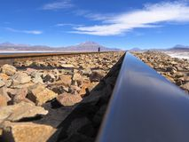Remote rail line on the altiplano stock photography