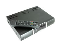 Remote and receiver for satellite TV Royalty Free Stock Images