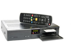Remote and receiver for satellite TV Royalty Free Stock Photos