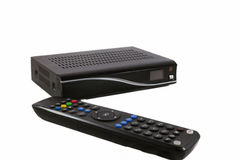 Remote and Receiver for Satellite TV on white front view Royalty Free Stock Photos