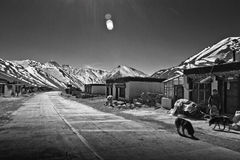 A remote southern Tibetan Village in black and white Stock Photo