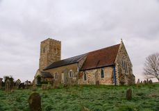 English 14th century village church. The remote St Botolph church is the  parish church for Tottenhill in Norfolk and was originally built in the 14th century stock photos
