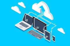 Remote Storage Cloud Upload Isometric Icon. Pc software for upload user data to cloud remote storage. Isometric decorative composition for web site banner Stock Images