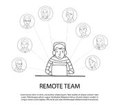 Remote team concept. Man at laptop connecting with other people, thin line style vector royalty free illustration