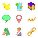 Remote training icons set, cartoon style Stock Photo