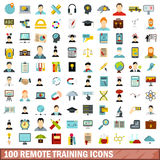100 remote training icons set, flat style. 100 remote training icons set in flat style for any design vector illustration Royalty Free Stock Images