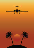 Remote Tropical Island with Airplane Flying Over. Remote isolated Tropical Island against a graduated sunrise sky with airplane flying over Royalty Free Illustration