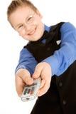 remote tv управлением мальчика смешной Стоковое Фото