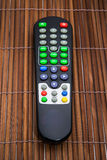 Remote tv on wood backgrounds Stock Image