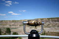 Remote Viewer. Pay per view binnoculars for viewing scenery which is the badlands of Alberta stock photos