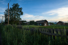 Remote village Kozyrevsk in the early morning Stock Images