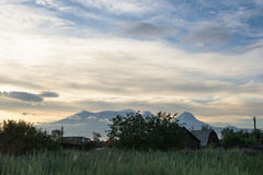 Remote village Kozyrevsk in the early morning Royalty Free Stock Image