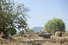 Mountain village in south sudan Stock Image