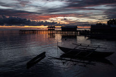 Remote Village Pier and Sunset Royalty Free Stock Photos