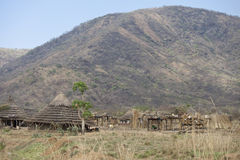 Remote village in south sudan Stock Image