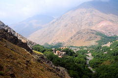 Remote villages in atlas mountains, morocco. Landscape image of atlas mountains, morocco Stock Images